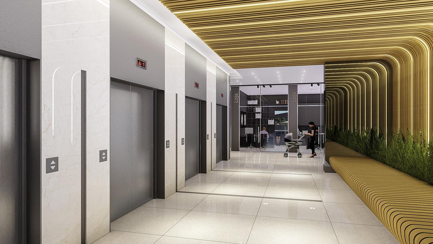 Acesso aos elevadores da alameda de serviços