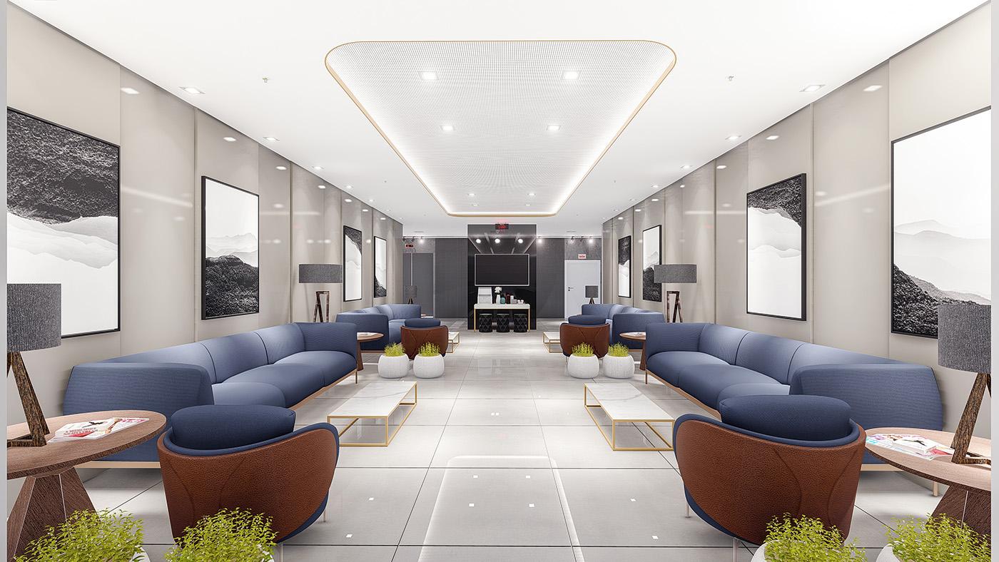 Corredores com duas salas de espera nos pavimentos de consultórios, mobiliadas e decoradas