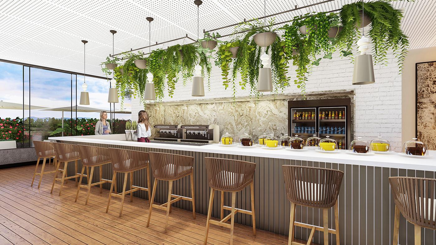Cafeteria na praça elevada